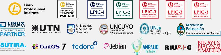 Linux Foundation - Linux Professional Institute - UTN - UNCuyo - UNJujuy - UNSL - Debian - Fedora - CentOS