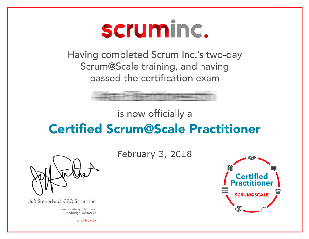 Certificado Scrum@Scale