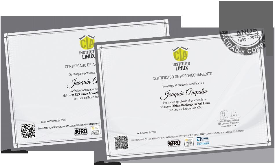Certificados LINUX SYSTEM ADMINISTRATOR y SEGURIDAD INFORMÁTICA CON KALI